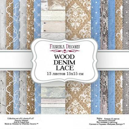 Mały bloczek papierów do tworzenia kartek i scrapbookingu - Fabrika Decoru - Wood denim lace