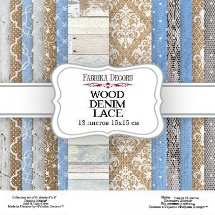 Pad of scrapbooking papers - Fabrika Decoru - Wood denim lace