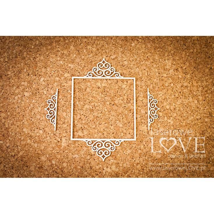 Laserowe LOVE - tekturka ramka owlana Paroles - 3 sztuki