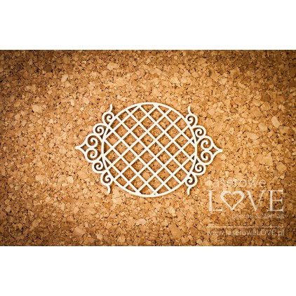Laserowe LOVE - tekturka ramka okrągła siatka Paroles