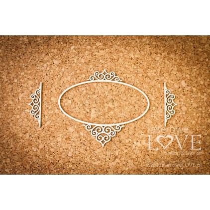 Laser LOVE - cardboard ovalr frame Paroles - 3 pcs.