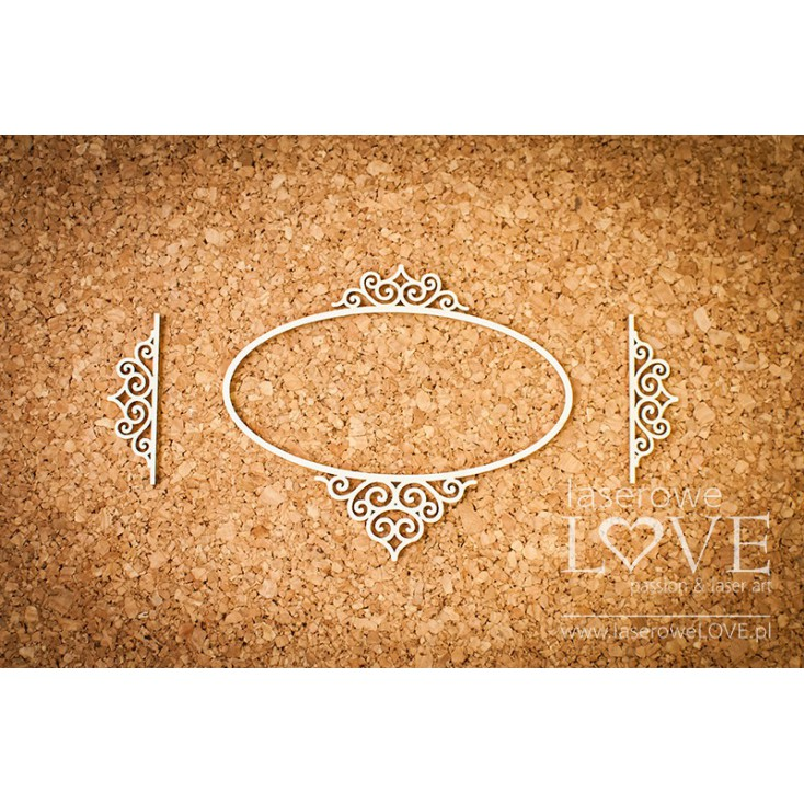Laserowe LOVE - tekturka ramka owalna Paroles - 3 szt.