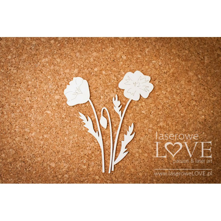 Laser LOVE - cardboard poppies - 3 pcs.
