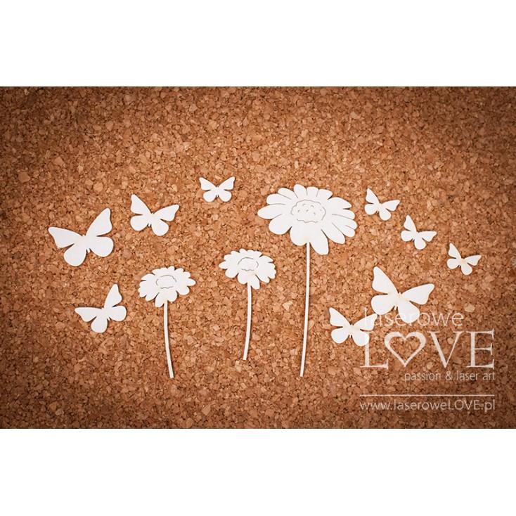 Laserowe LOVE - tekturka Kwiatki i motyle - Forest Camp- 11 szt.
