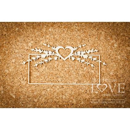 Laser LOVE - cardboard frame with heart and lavender Sweet Lavender.