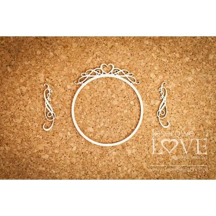 Laserowe LOVE - tekturka ramka okrągła z sercem - Pharse
