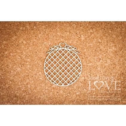 Laserowe LOVE - tekturka ramka okrągła z sercem w siatkę - Pharse