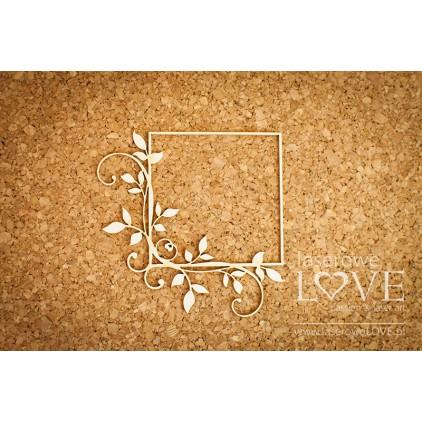 Tekturka ramka kwadratowa z liśćmi - Fleur - LA16072509- Laserowe LOVE