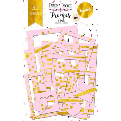 Set of frames - Fabrika Decoru - Pink, gold foiled - 39pcs