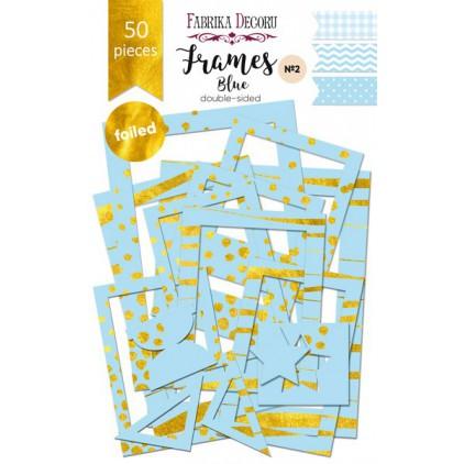 Zestaw papierowych ramek - Fabrika Decoru - Blue ze złoceniami - 50 części