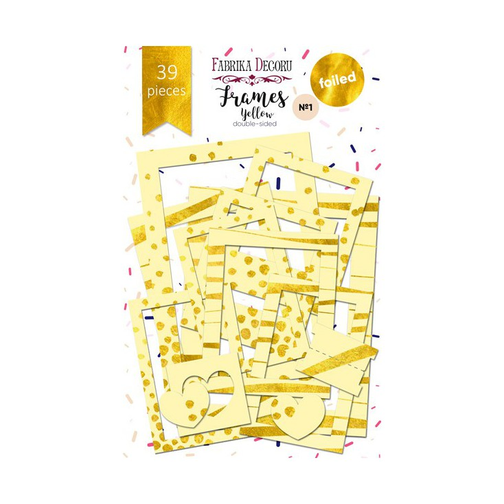 Set of frames - Fabrika Decoru - Yellow with gold foiled - 39pcs