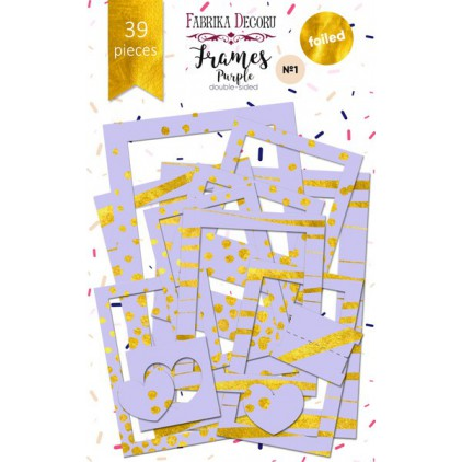 Set of frames - Fabrika Decoru - Purple with gold foiled - 39pcs