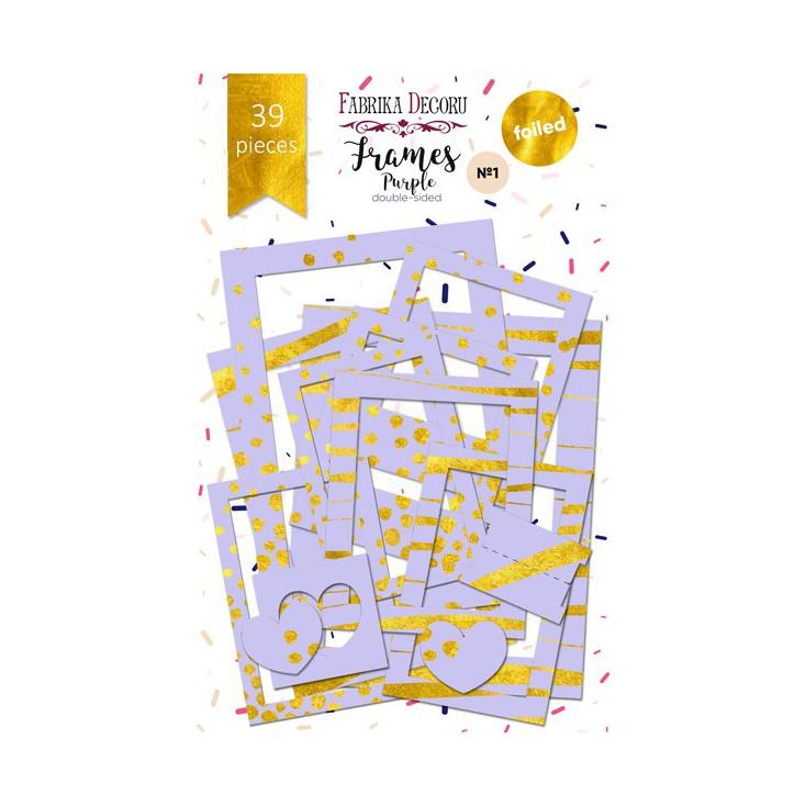 Zestaw papierowych ramek - Fabrika Decoru - Purple ze złoceniami - 39 części