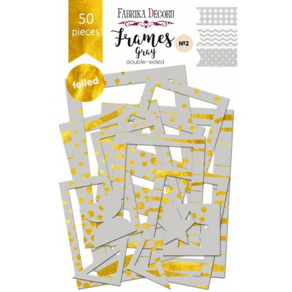 Set of frames - Fabrika Decoru - Gray with gold foiled - 50pcs