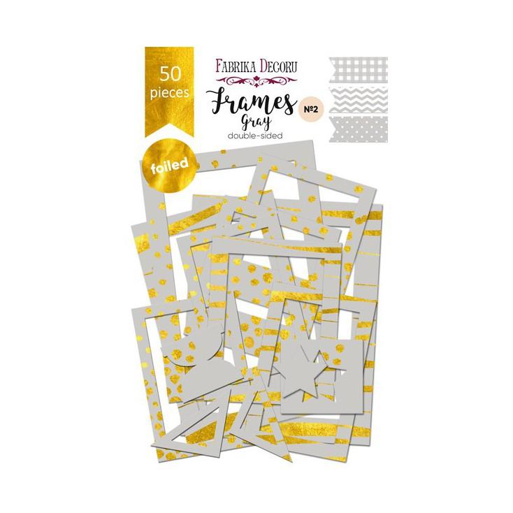 Zestaw papierowych ramek - Fabrika Decoru - Gray ze złoceniami - 50 części