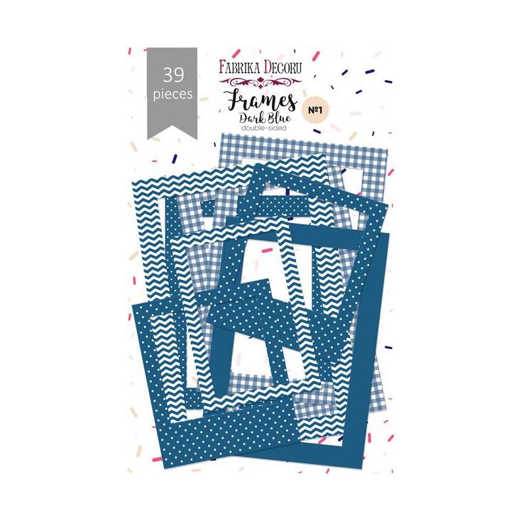 Zestaw papierowych ramek - Fabrika Decoru - Dark Blue - 39 części