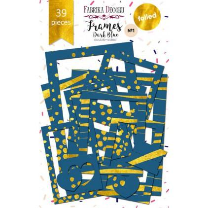 Zestaw papierowych ramek - Fabrika Decoru - Dark Blue ze złoceniami - 39 części