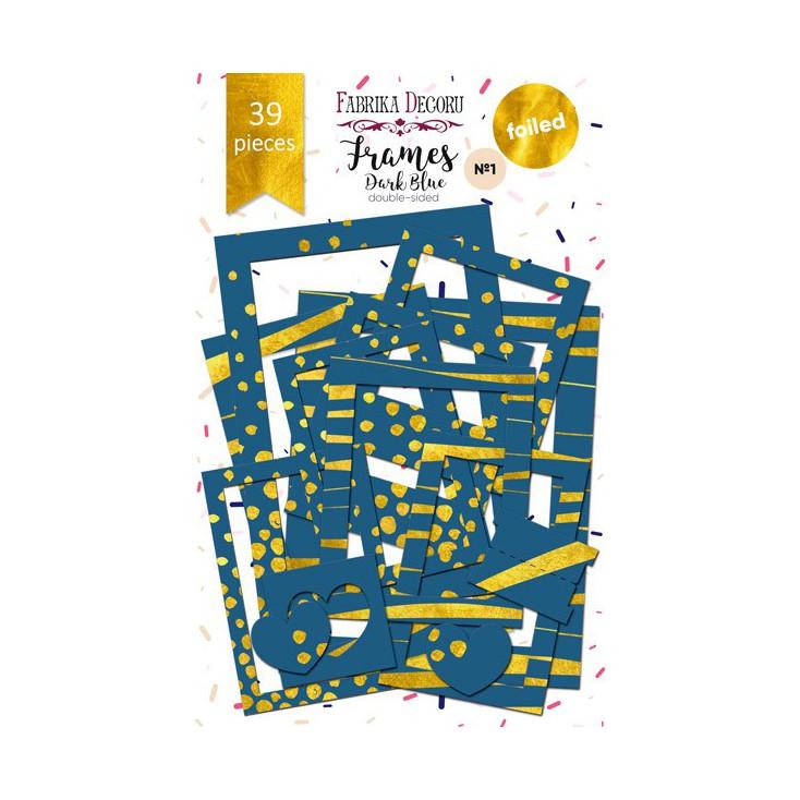 Set of frames - Fabrika Decoru - Dark Blue with gold foiled - 39pcs