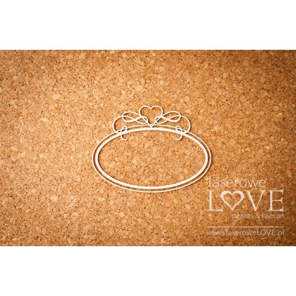 Laser LOVE - cardboard oval frame with heart - Phrase