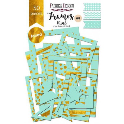 Set of frames - Fabrika Decoru - Mint with gold foiled - 50pcs