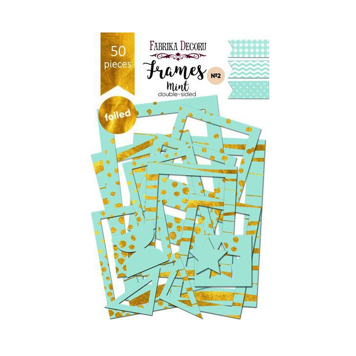 Zestaw papierowych ramek - Fabrika Decoru - Mint ze złoceniami - 50 części
