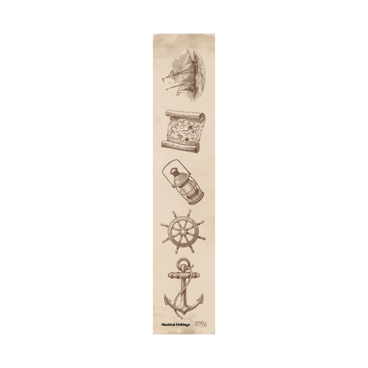 Laserowe LOVE - pasek - Nautical Holidays-brąz