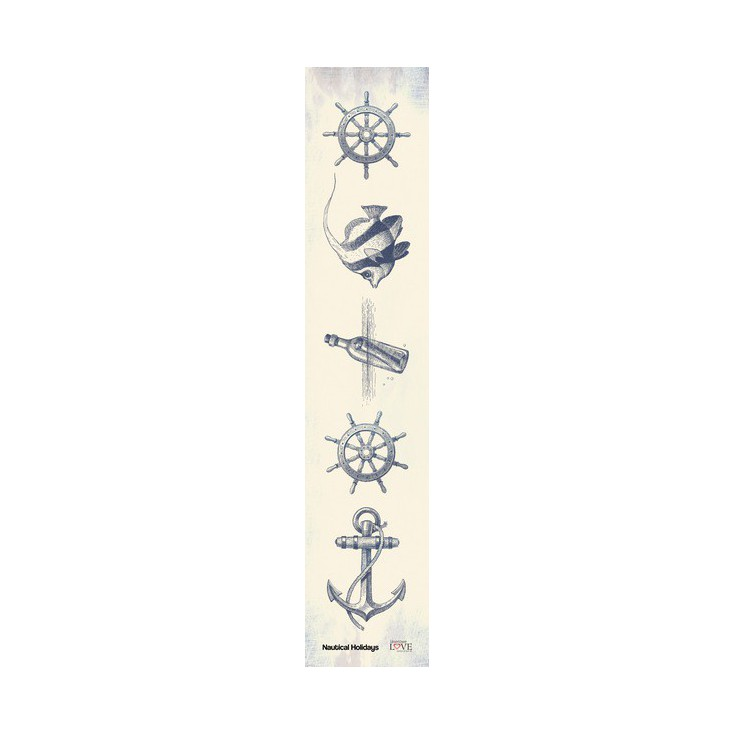 Laserowe LOVE - pasek - Nautical Holidays-granat