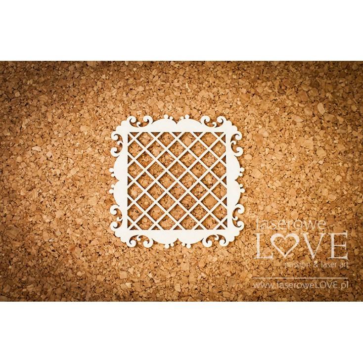 Laserowe LOVE - tekturka ramka kwadratowa, siatka Paroles