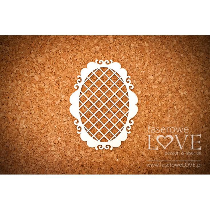 Laserowe LOVE - tekturka ramka owalna, siatka Paroles