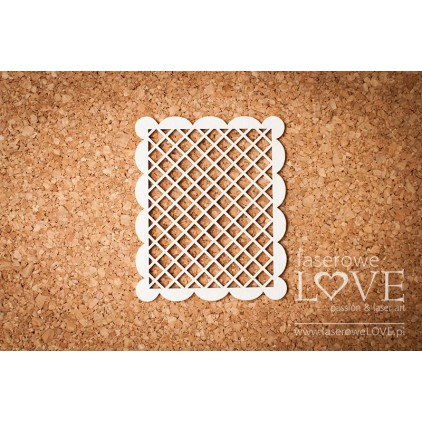 Laser LOVE - cardboard rectangular frame, mesh