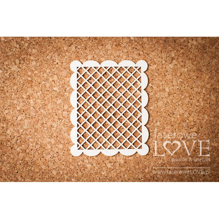 Laserowe LOVE - tekturka ramka prostokątna, siatka