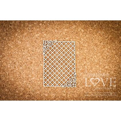 Laserowe LOVE - tekturka ramka prostokątna,ornamenty i siatka Paroles