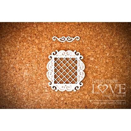 Laserowe LOVE - tekturka ramka prostokątna Paroles warstwowa