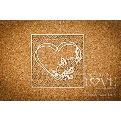 Laserowe LOVE - tekturka Różany ogród w sercu kratka Vintage - Memories
