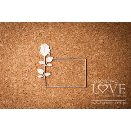Laserowe LOVE - tekturka ramka z różą