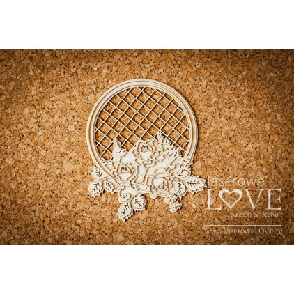 Laser LOVE - cardboard Round frame with roses - Tatra life