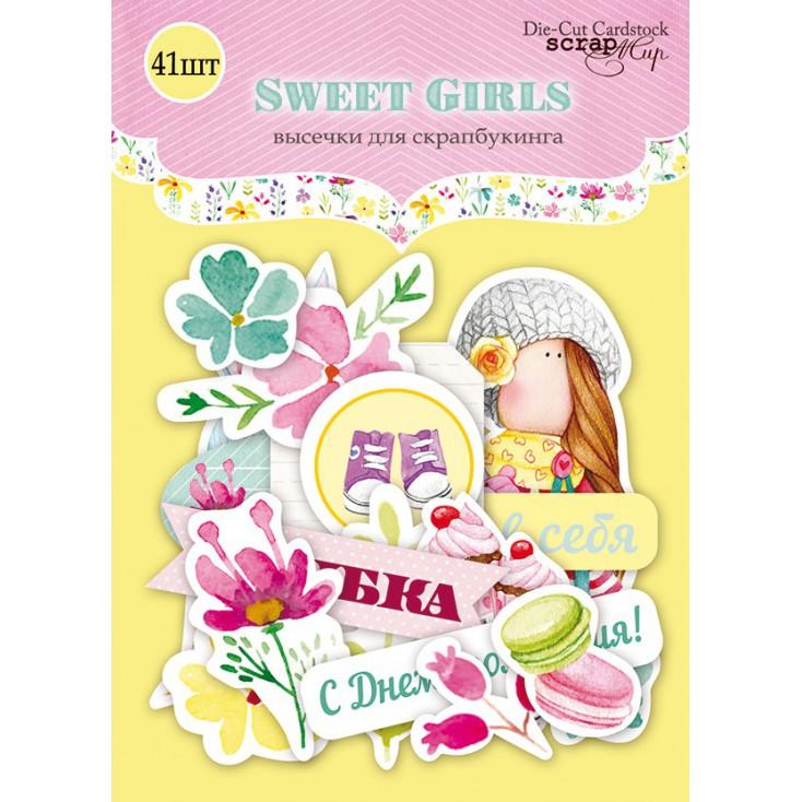 Zestaw papierowych kształtów - Scrap Mir - Słodkie dziewczyny - 41 elementów