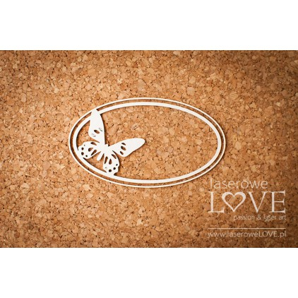 Laser LOVE - cardboard oval frame with butterfly - Soufre