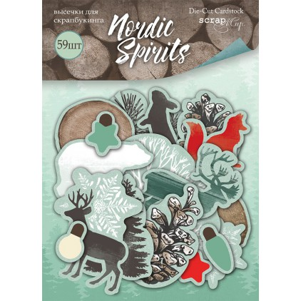 Zestaw papierowych kształtów - Scrap Mir - Nordic Spirits - 58 elementów