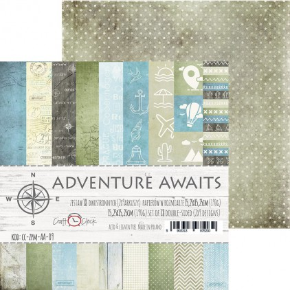 Mały bloczek papierów do tworzenia kartek i scrapbookingu - Craft O Clock - Adwenture Awaits