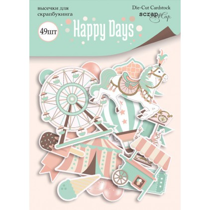 Zestaw papierowych kształtów - Scrap Mir - Szczęśliwe dni - 49 elementów