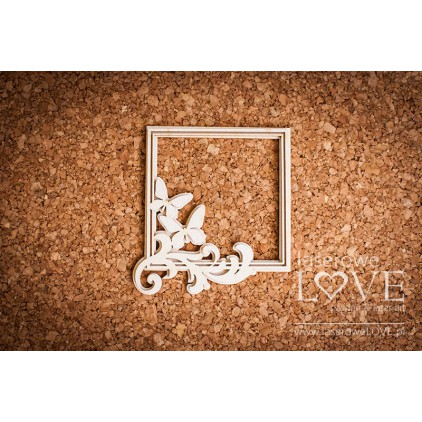 Laser LOVE - cardboard square frame Pappilon leaves with butterflies