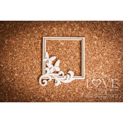Laserowe LOVE - tekturka ramka kwadratowa Pappilon liście z motylami