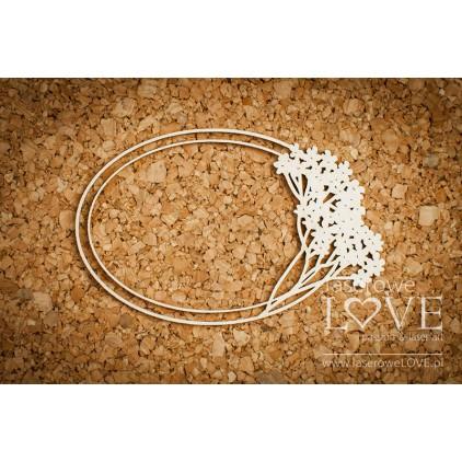 Cardboard oval frame with yarrow - Wedding Day -LA 171303 Laserowe Love