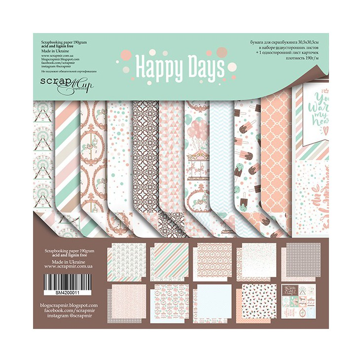 Set of scrapbooking papers - Scrap Mir - Happy Days