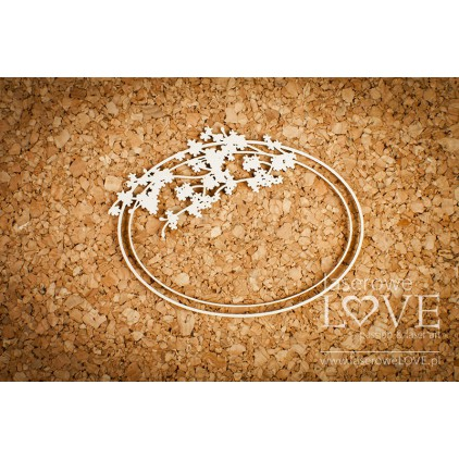 Cardboard oval frame with a sprig of cherry - Wedding Day -LA 171307 Laserowe Love