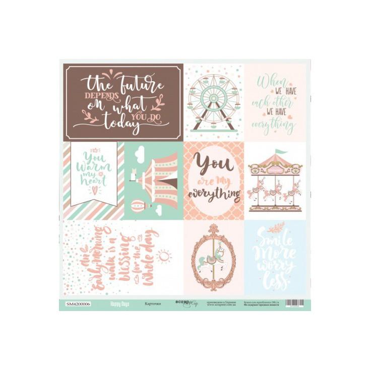 Papier do tworzenia kartek i scrapbookingu - Scrap Mir - Szczęśliwe dni - Karteczki