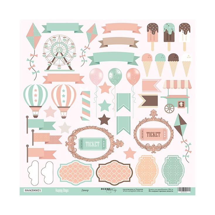 Papier do tworzenia kartek i scrapbookingu - Scrap Mir - Szczęśliwe dni - Dekory