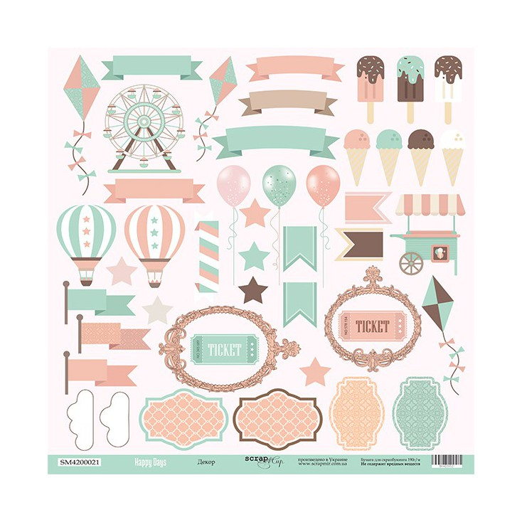Scrapbooking paper - Scrap Mir - Happy Days - Decors