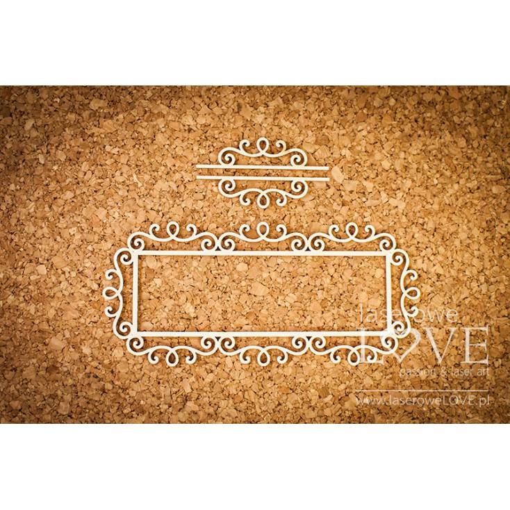Laserowe LOVE - tekturka ramka prostokątna Paroles ornamenty rycerskie
